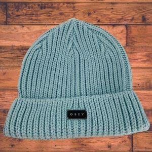 Obey Cuffed Larson Beanie Hat Chunky Knit Blue NWT